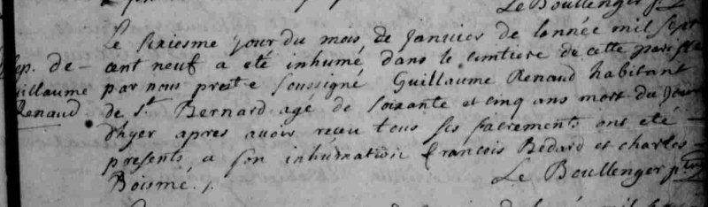 Acte de sepulture for Guillaume Renaud (Regnault). Ancestry.com.  Quebec, Canada, Vital and Church Records (Drouin Collection), 1621-1968  [database on-line]. Provo, UT, USA: Ancestry.com Operations, Inc., 2008.Original data: Gabriel Drouin, comp.  Drouin Collection . Montreal, Quebec, Canada: Institut Généalogique Drouin.