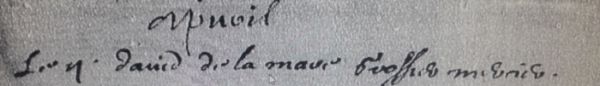 "Burial (inhumation) entry for David De La Mare April 2, 1635 ""Le ij david de la mare grossier mercier"" Transcription by Christine Reno.    Archives départementales de Seine-Maritime 4E 02060-1631-1645-Rouen (paroisse Saint-Jean) image 8 of 20."