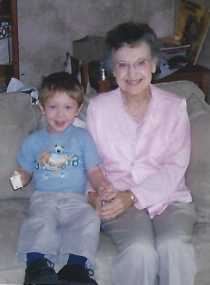 Mother with my son Sebastien, one of her many grandchildren.
