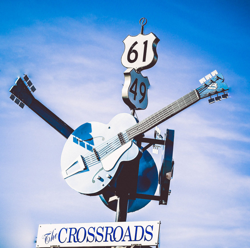 This iconic sign welcomes visitors to the spot some residents claim is THE crossroads where Robert Johnson sold his soul to the devil. It is the crossroads of two important highways in blues songs and history.