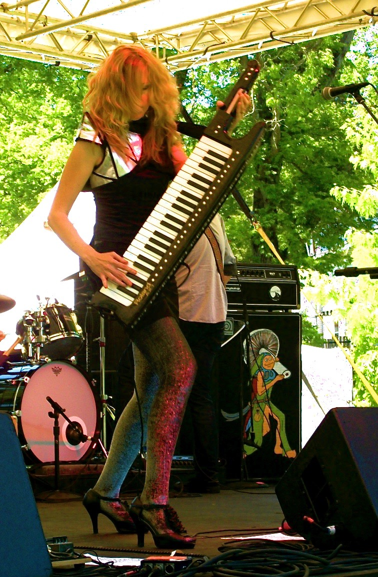 Megan rocking out with her keytar, Nashville, TN, 2014
