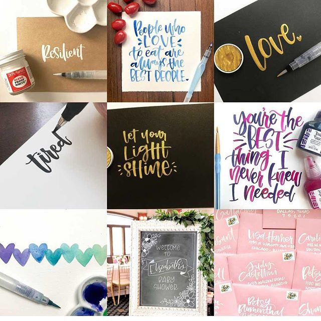 The best of 2018. Lots of watercolor lettering made its way into the ranks. Which pic was your favorite?! #lifeloveandlettering #handlettering #lettering #letteringleague #letteringcommunity #moderncalligraphy #moderncalligraphysummit #calligrabasics #communityovercompetition #chicagoartist #chicagocalligrapher #chicagoletteringartist #brushlettering #risingtidesociety  #bestnine2018 #reflection