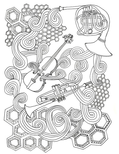 Drink Draw Listen Coloring Book Page