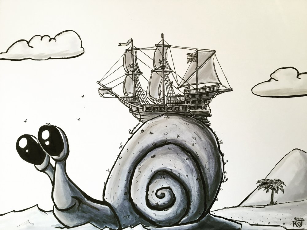 """Gigantic"" ink illustration by Doodleworx artist Kevin Jones"