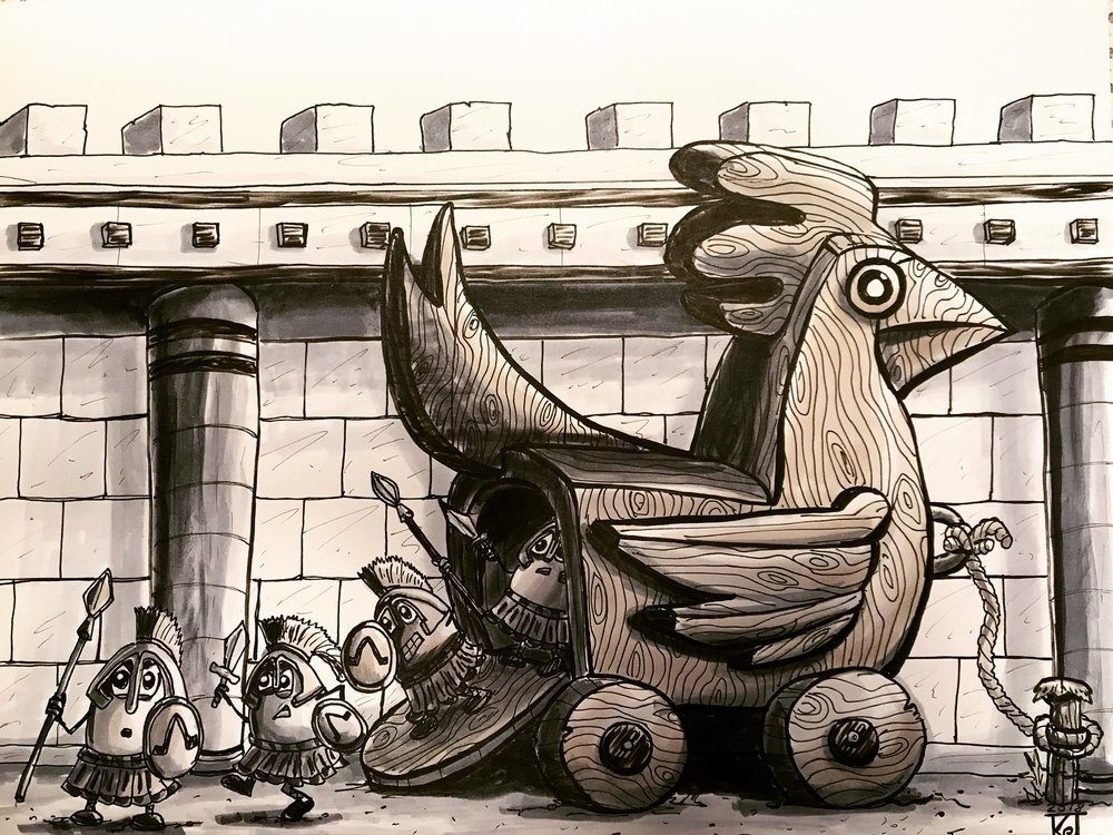 The Trojan Chicken by Doodleworx artist Kevin Jones