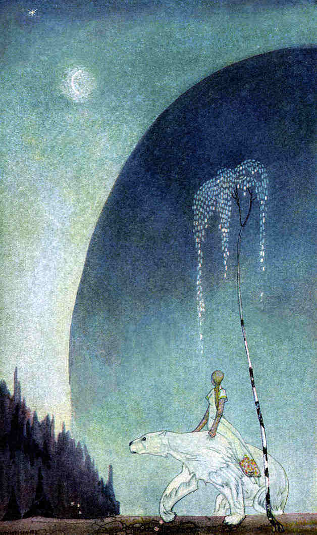 """Next Thursday evening came the White Bear to fetch her, and she got upon his back with her bundle, and off they went."" Illustration by Kay Nielsen. Published in East of the Sun and West of the Moon: Old Tales from the North by Asbjørnsen & Moe (1926?), George H. Doran Company."