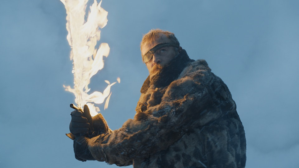 Beric Dondarrion wields a flaming sword on HBO's  Game of Thrones