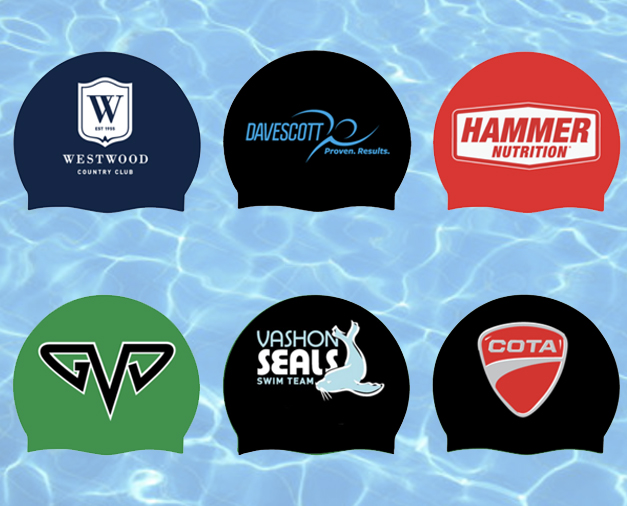 custom swim caps - Up to FIVE Color Custom Printing • Variety of Styles