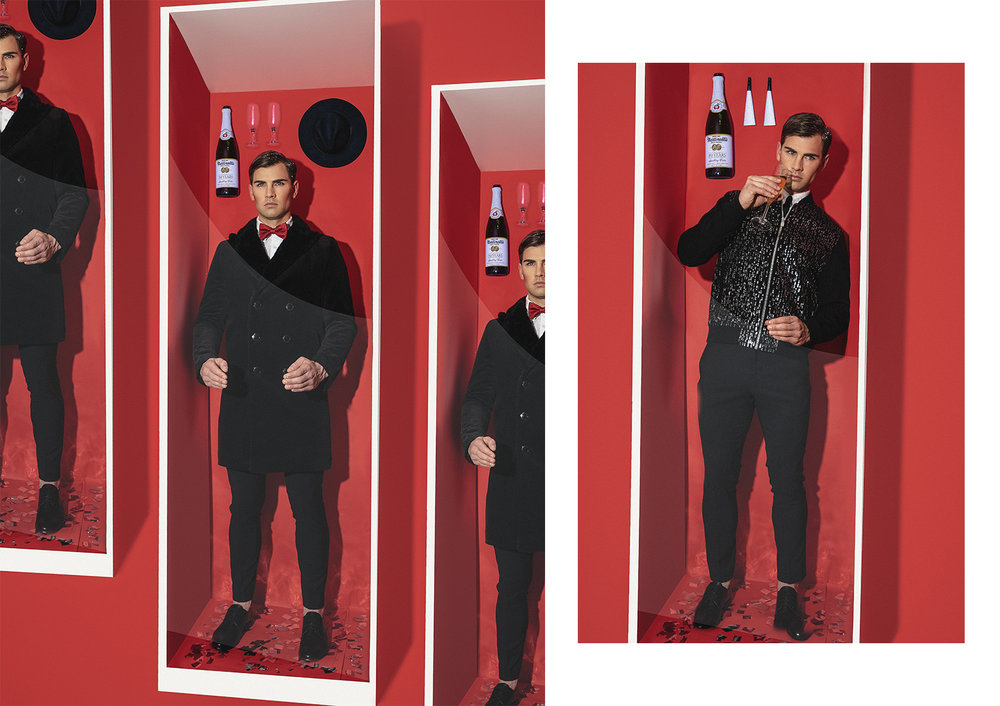 L: Coat  THEORY  | Shirt  CALVIN KLEIN  | Trousers  GUCCI  | Shoes  DOLCE & GABBANA  | Bowtie  TOM FORD  R: Jacket  ZARA  | Shirt  CALVIN KLEIN  | Trousers  GUCCI  | Shoes  DOLCE & GABBANA  | Tie  LANVIN
