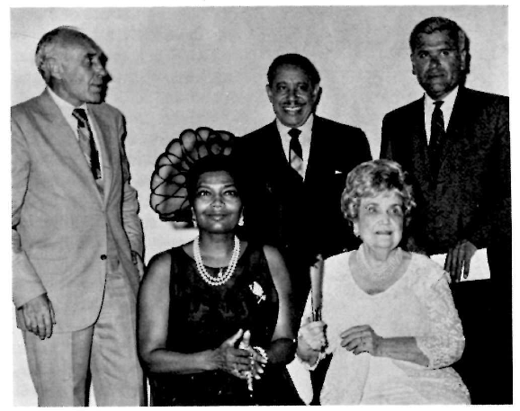 From left to right: Russel Wright (artist), Pearl Bailey, Cab Calloway, Perle Mesta (hostess) and Nash Castro (NPS). Courtesy of  National Park Service . W.H. Spradley, photographer. 1968