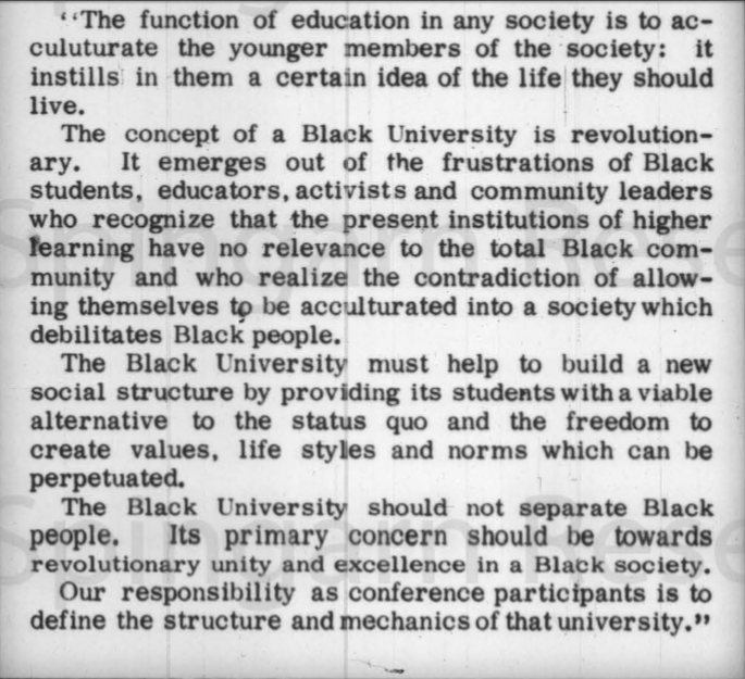Toward a Black University Conference 13-17 November 1968.  Hilltop,  8 November 1968.