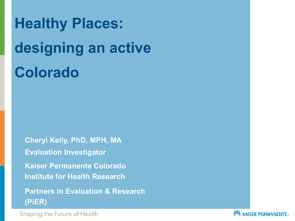 Healthy Places Evaluation Presentation 2018