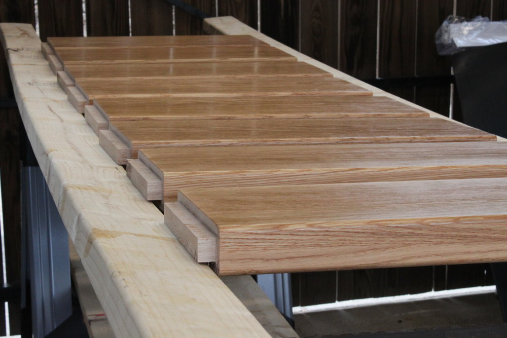 The stairs and sides are joined with a traditional mortise & tenon.