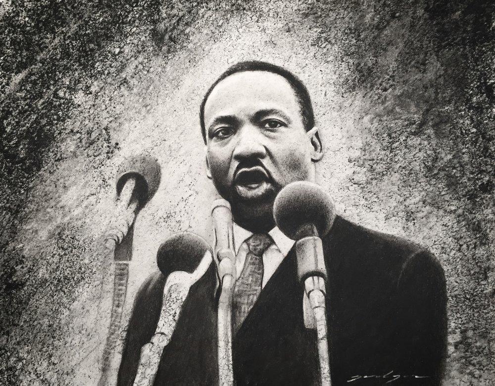 Martin Luther King Jr Original Charcoal Drawing Jordan Jones