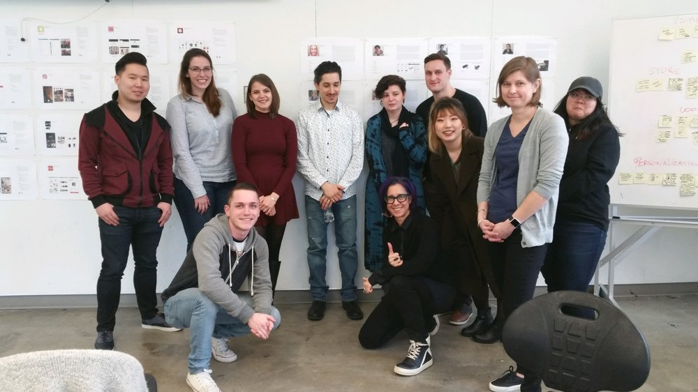 Cornish students and Amazon instructors gather for critique. Four of the students received Amazon summer internships in 2017 in User Experience Design and Visual Design.