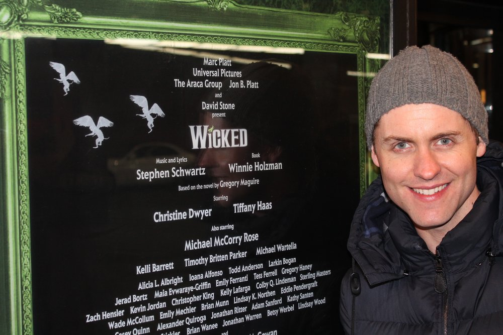 Michael at the Gershwin Theatre marquee; NYC.