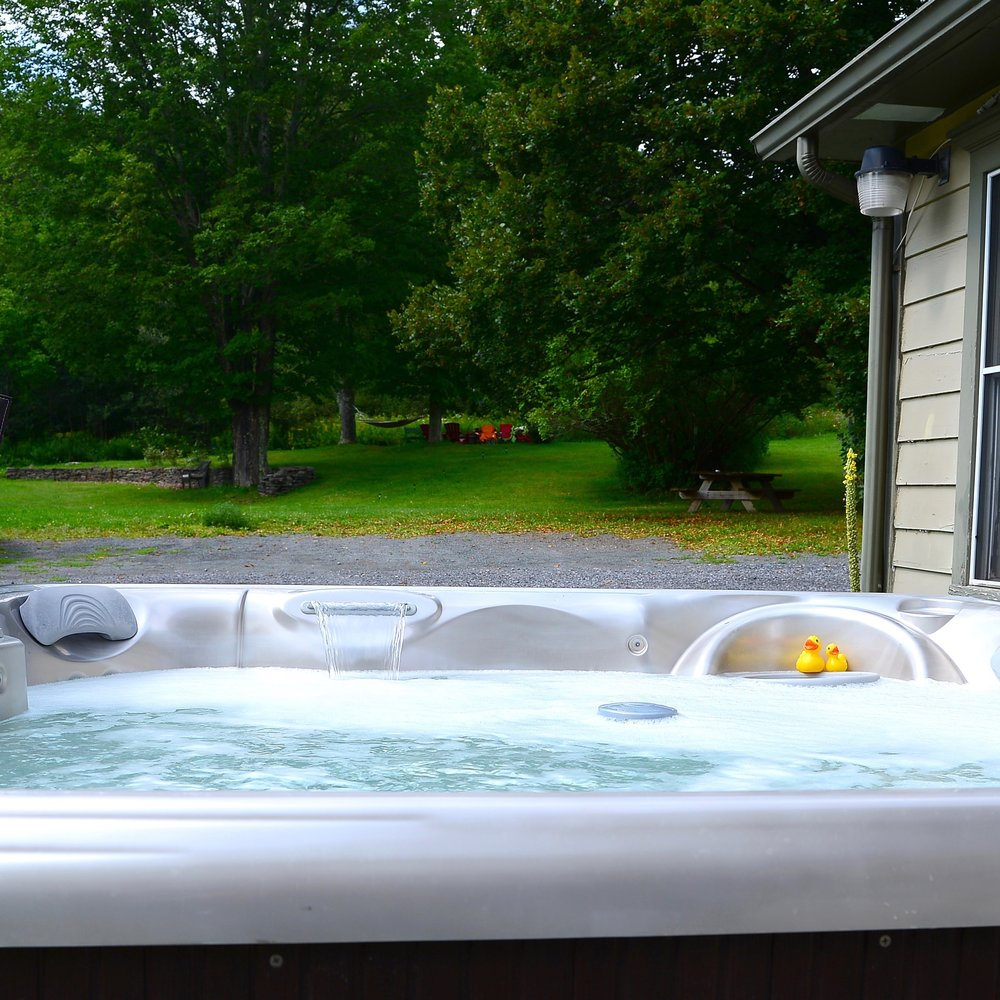 Wind down with a soak in our outdoor hot tub. open year-round.