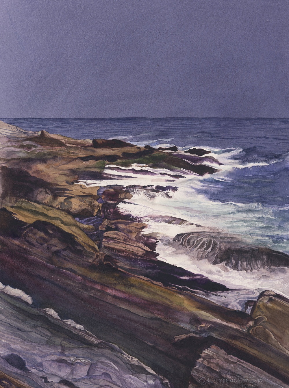 """Rocks at Pemaquid Point"" 22"" x 25"""
