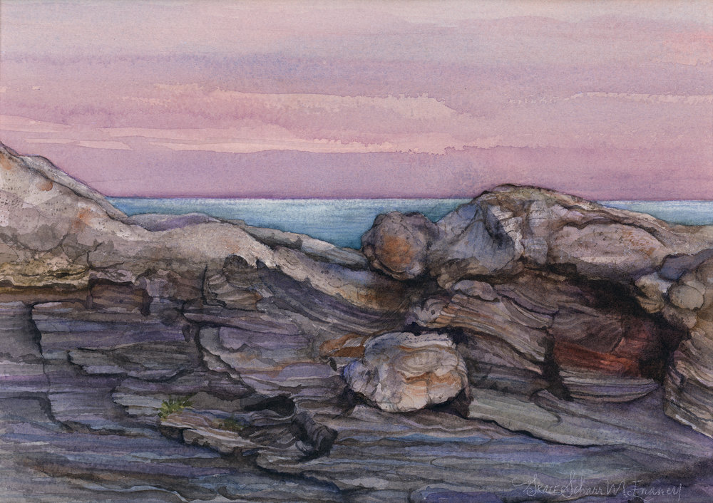 """Sunset at Pemaquid Point"" 15 1/2"" x 19"""