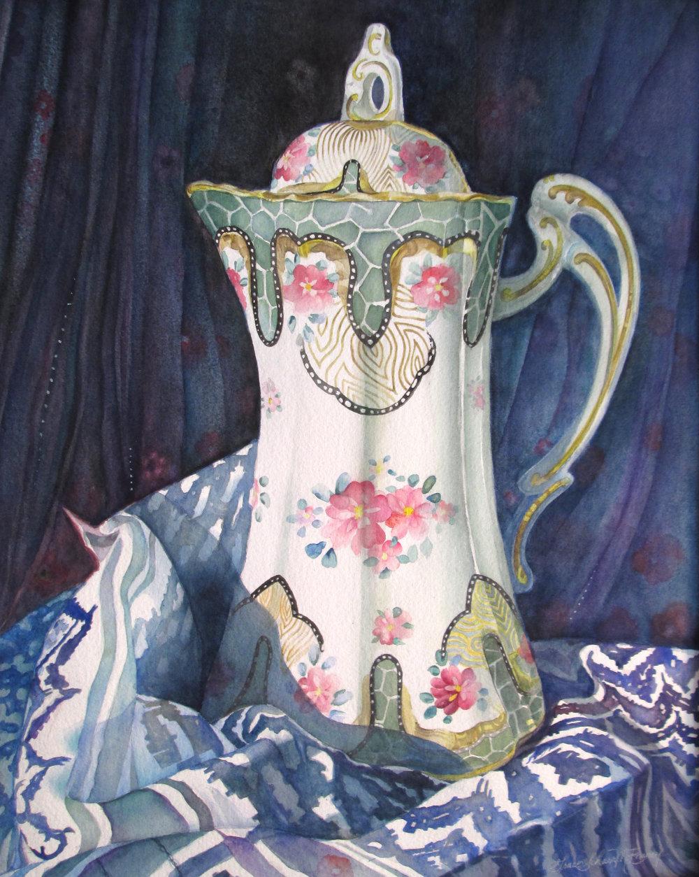 """Vintage Teapot on Headscarf"" 26"" x 31"""
