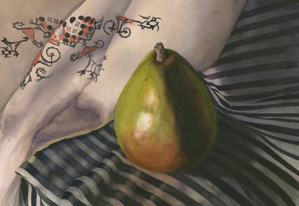 """""""Pear on Striped Cloth"""""""