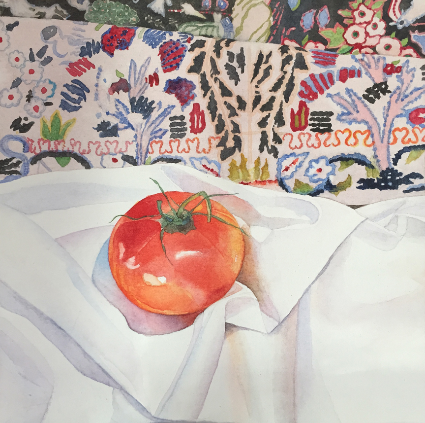 """""""Tomato on White Cloth"""" 12' x 12"""" unframed (watercolor on canvas)"""