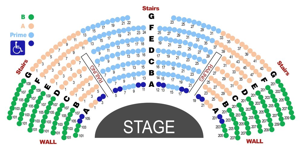 For readability, seat numbers are shown for every other seat  Seniors (66+) & Veterans $5 Discount  Youth (5 - 17), Young Adults (18 -34)& Active Duty Military - Half Price
