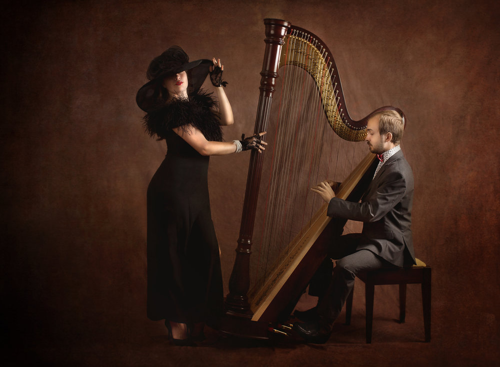 Seth and Sarah final harp playing BW.jpg