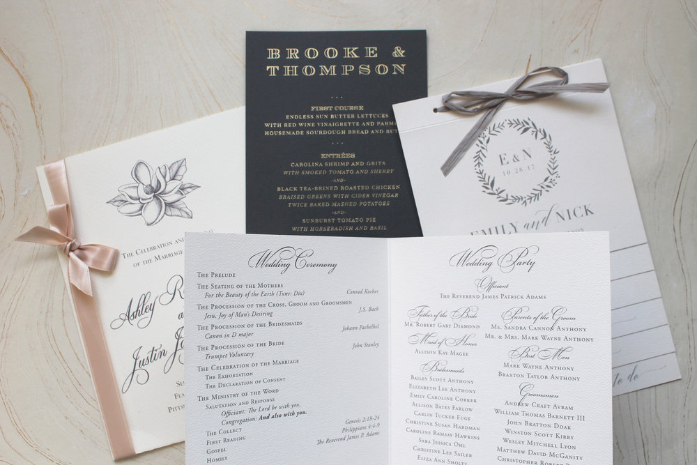 wedding wednesday menus programs place cards if it s paper