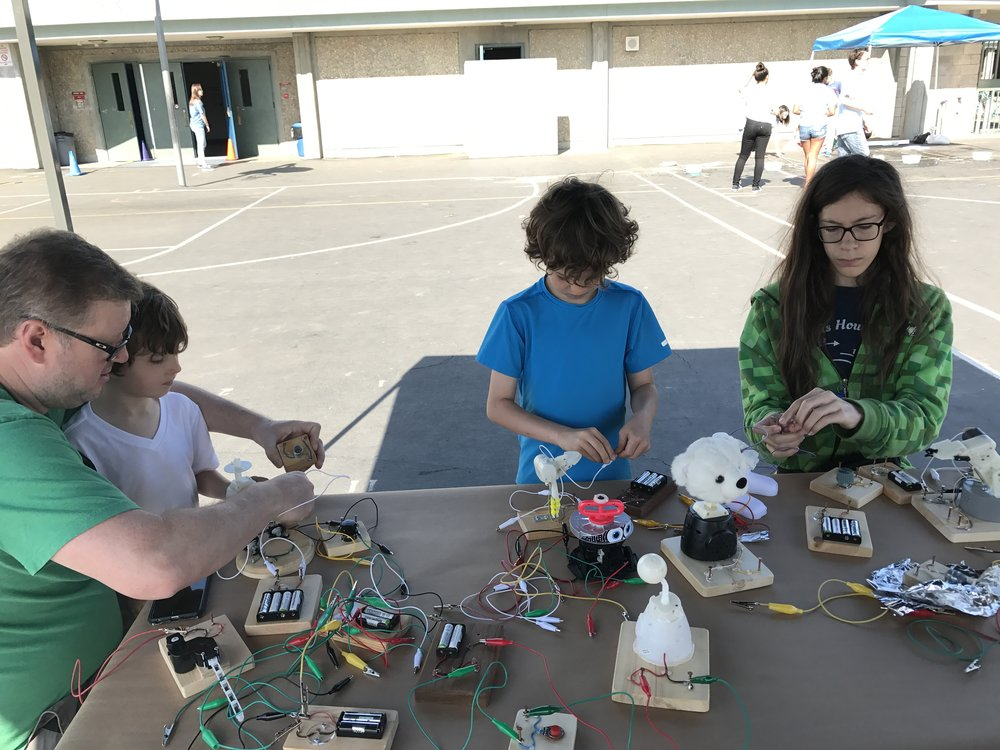 Benicia mini maker faire wonderful idea co on the main table we arranged an expanded set of circuit boards with many recently dissected toy parts one really funny mechanism that will double as a stopboris Gallery