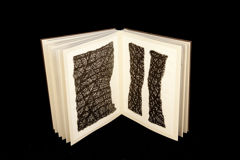 "Stephen Vincent. Haptics: The Novel (2011), Ink drawings attached to twenty six 9.5 x 12"" panels on both sides of two 12"" and four 36"" accordion fold extensions; bound in handmade paper over board in clam shell box bound in silk over board; 8.5 x 11"". Courtesy of the artist."