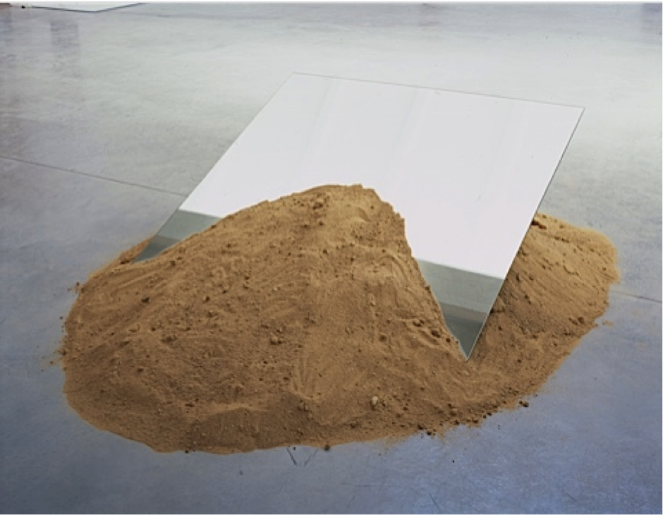 "Robert Smithson, ""Leaning Mirror,"" 1969. Sand and two mirrors, 30 x 108 x 144 in."