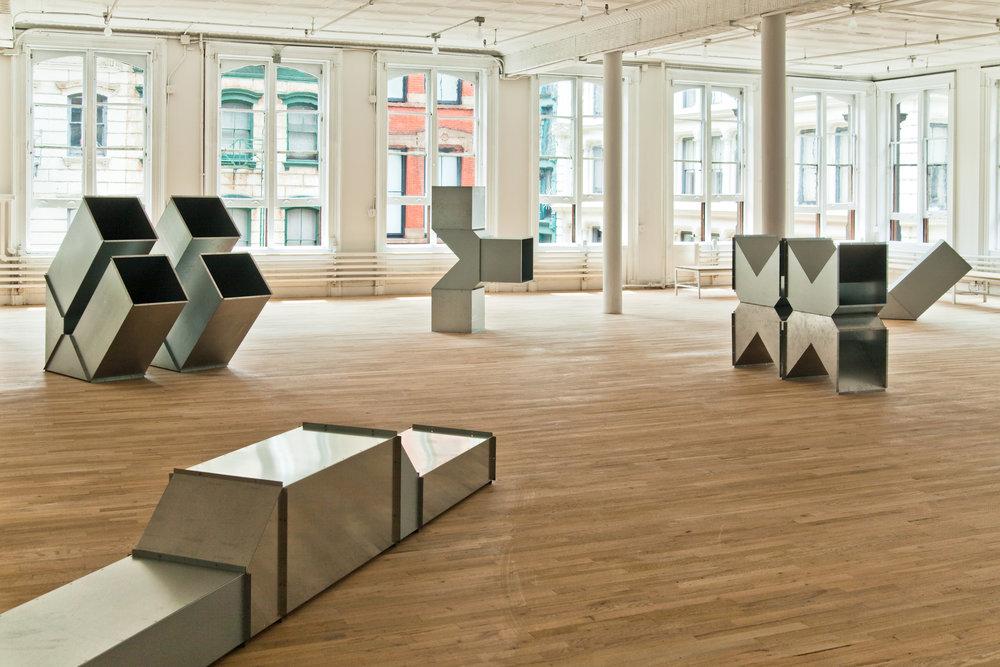 Charlotte Posenenske,  Series D Vierkantrohre (Square Tubes)  , 1967, First configuration, June 23 – July 5, 2010. Photo: Daniel Peréz. Image courtesy of Artists Space.