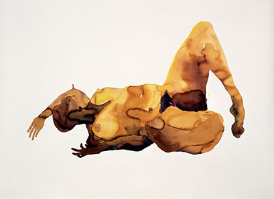 Figure 1. Senam Okudzeto,  Large Reclining Nude , 2004, acrylic ink on Somerset paper, 86 in x 63 in. Photograph by the artist and Mario Todeschini. Image courtesy of the artist.