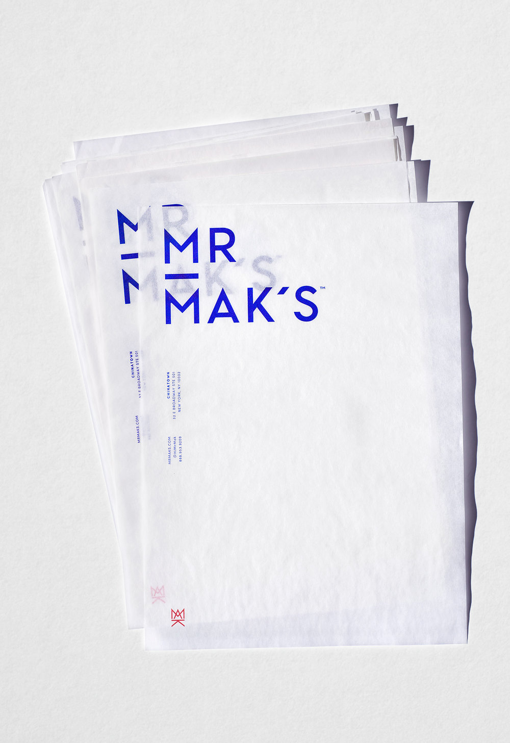 Mr. Mak's letterhead designed by Abby Haddican at Werner Design Werks