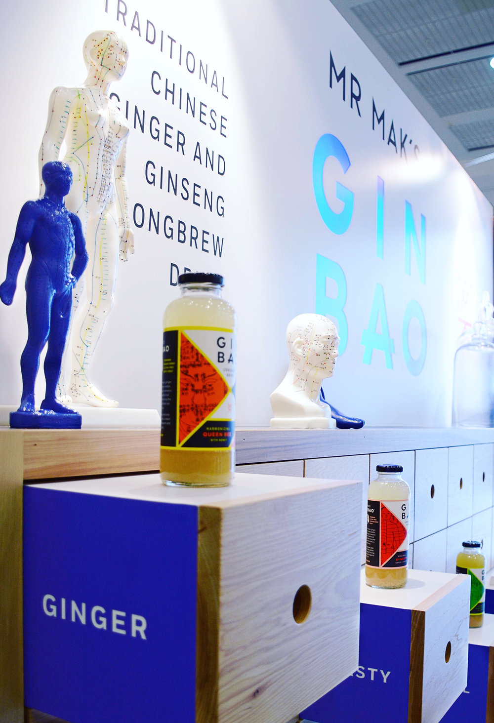 Mr. Mak's trade show booth inspired by Chinatown apothecary. Designed by Abby Haddican at Werner Design Werks.