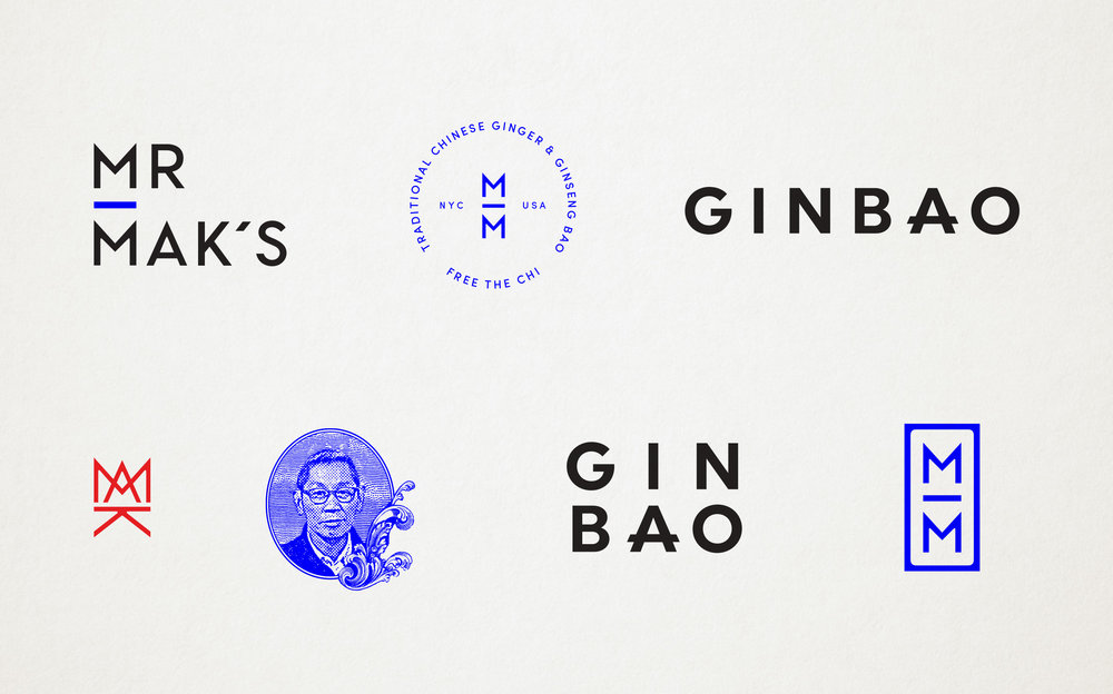 Mr. Mak's and Ginbao logos  and marks designed by Abby Haddican at Werner Design Werks