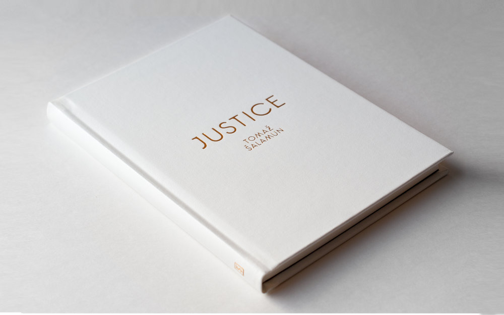 Justice by Tomaz Salamun, published by Black Ocean books. Book cover design by Abby Haddican. Gold foil on white clothbound book.