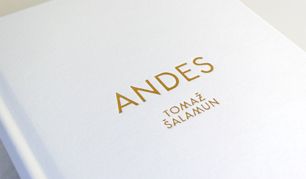 Andes foil stamp detail. Custom typography and book cover design by Abby Haddican.