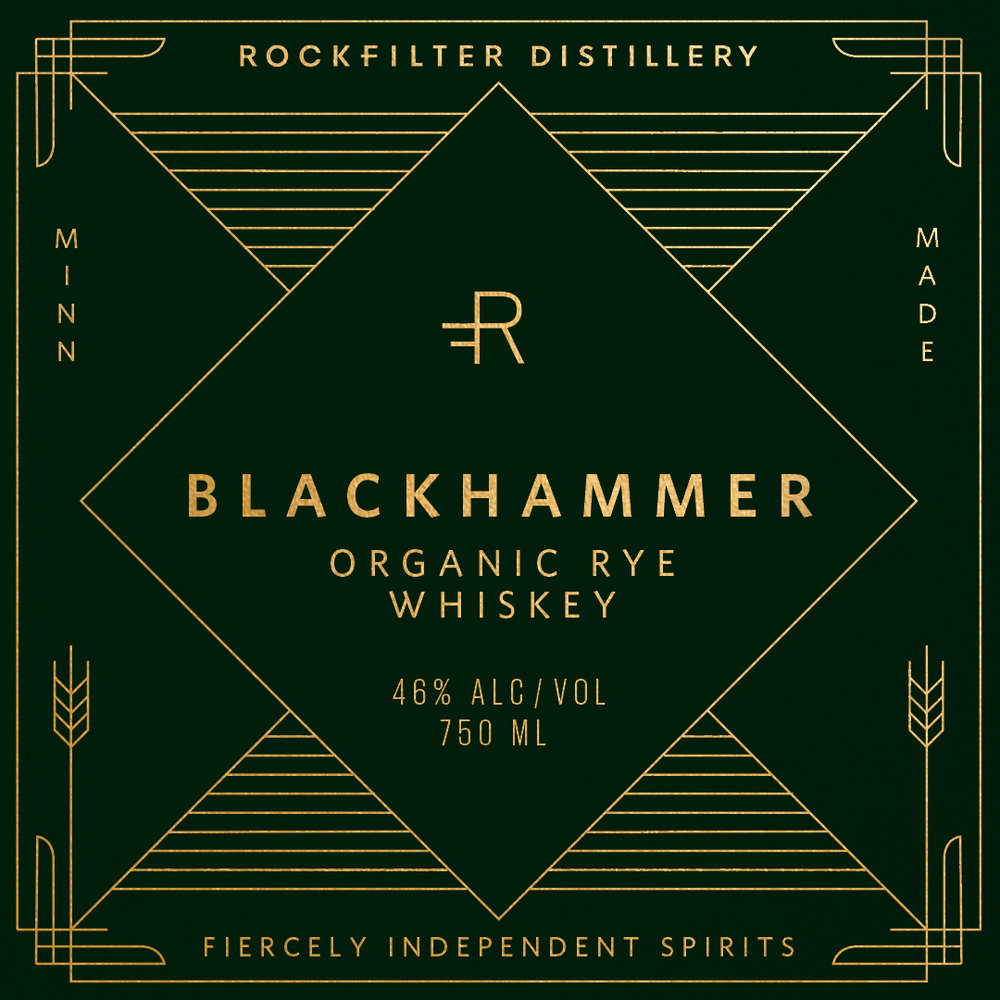 Alternative label design concept for RockFilter Distillery designed by Abby Haddican at Werner Design Werks
