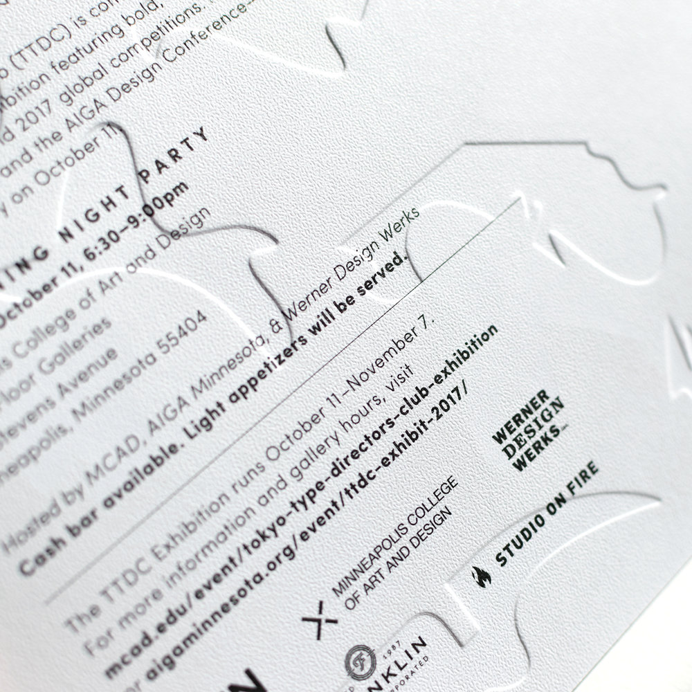 Tokyo TDC invitation designed by Abby Haddican. Emboss detail.
