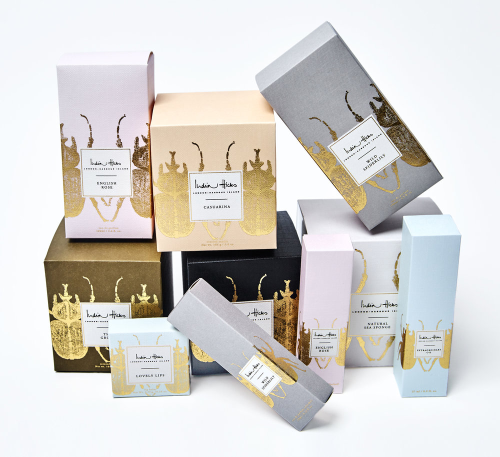 India Hicks - Textured Cartons with Halftone Foil Stamping