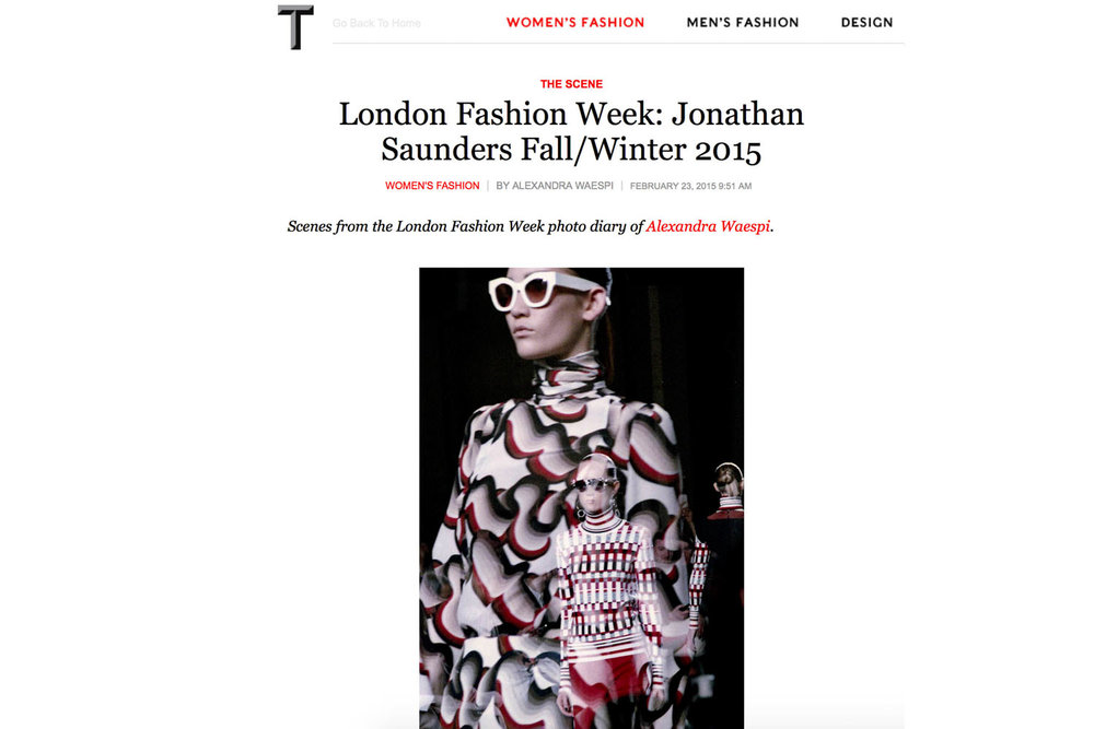 Jonathan Saunders AW15 / T: The New York Times Style Magazine, February 2015