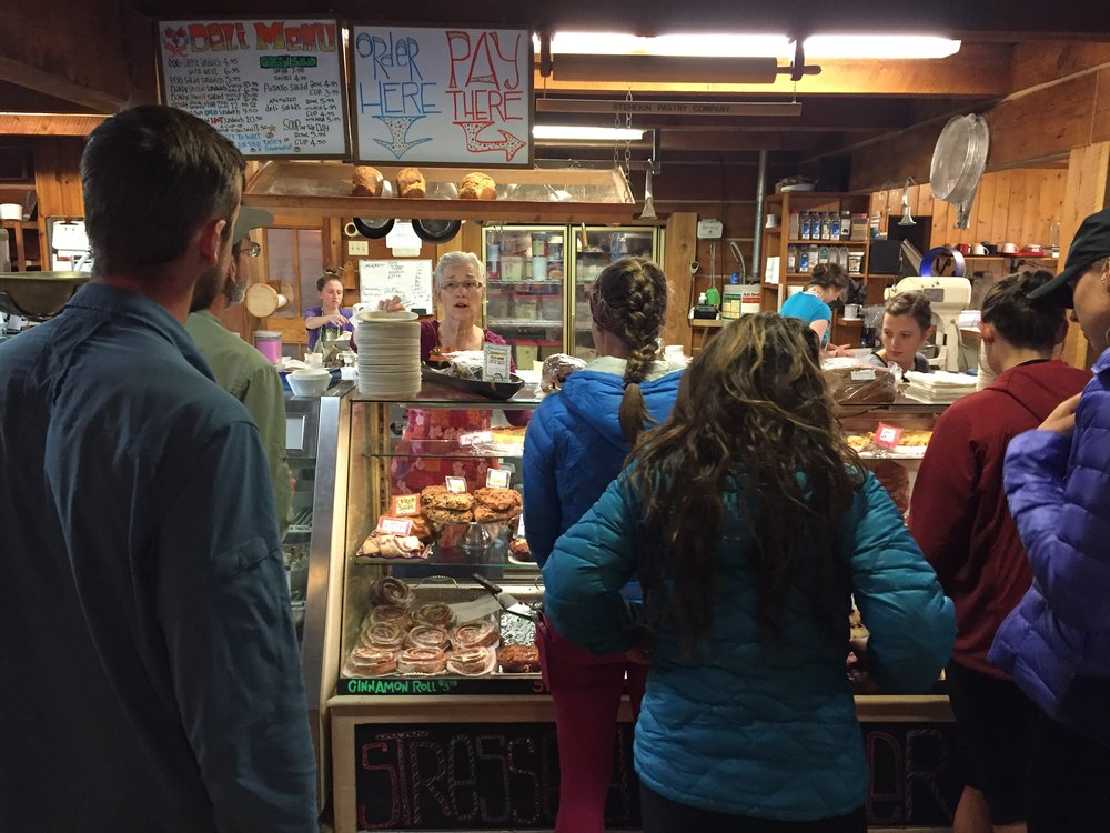 Hikers waiting in line at the famous Stehekin Bakery in Northern Washington
