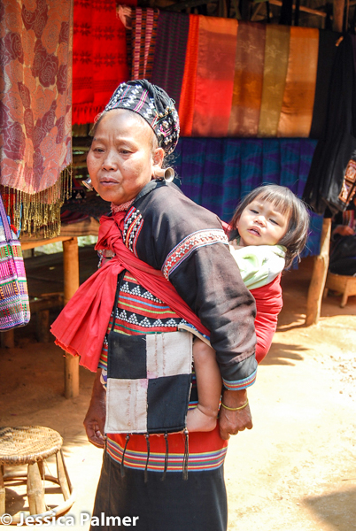 Baby wearing at a Hill Tribe Village in Northern Thailand