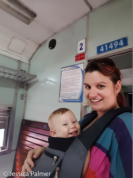 Jessica and Trillian (aged nearly 1 years) on a train in Vietnam