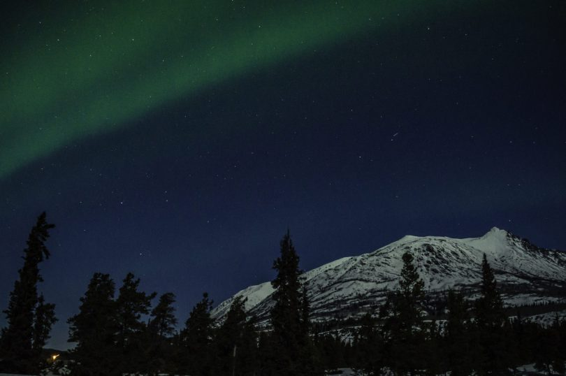 Northern lights in March 2015, in Carcross, YT