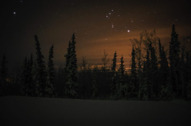 I barely saw red northern lights in the sky, but my camera picked it up this night.