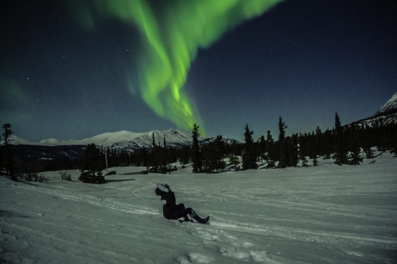Checking out the northern lights in the Carcross Desert, YT