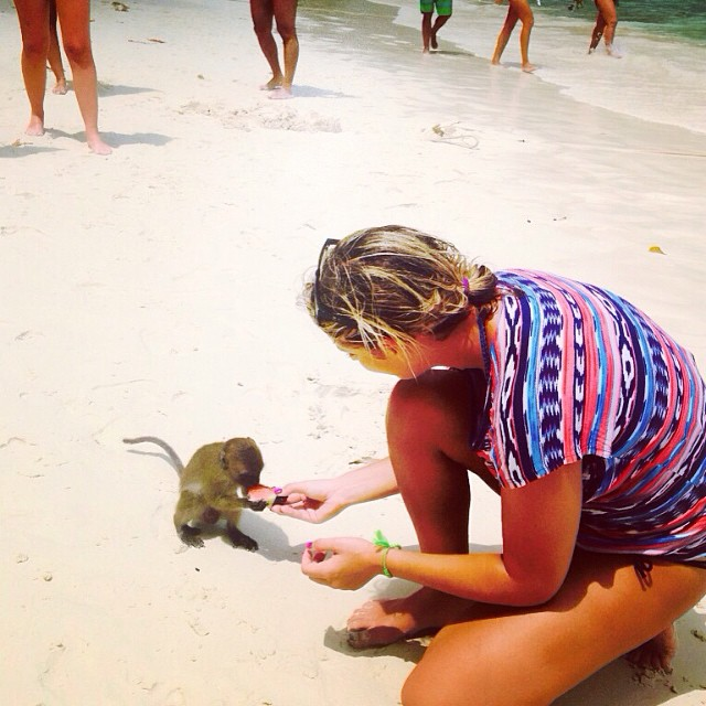 feeding some monkeys at Monkey Beach